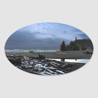 Sunset Ruby Beach Olympic National Park Oval Sticker