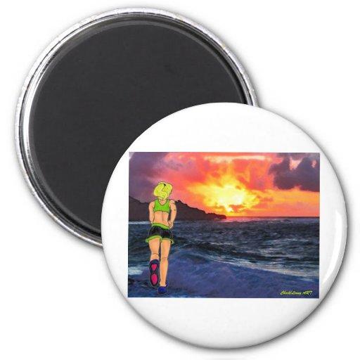 Sunset Runner 2 Inch Round Magnet