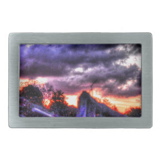 SUNSET RURAL QUEENSLAND AUSTRALIA WITH ART EFFECTS BELT BUCKLE