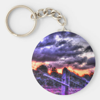 SUNSET RURAL QUEENSLAND AUSTRALIA WITH ART EFFECTS KEYCHAIN