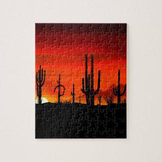 Sunset Saguaros Sonoran Desert Arizona Jigsaw Puzzle
