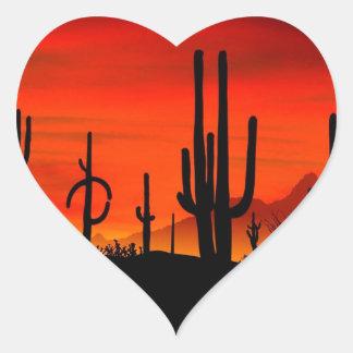 Sunset Saguaros Sonoran Desert Arizona Heart Stickers