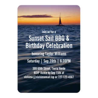 Sunset Sail Contemporary Birthday Card
