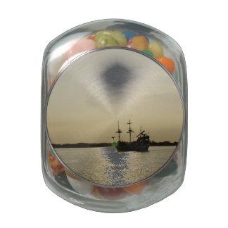 Sunset Sail Glass Candy Jars