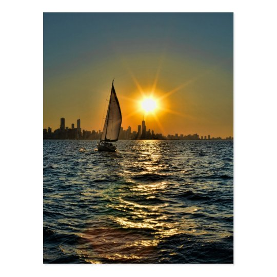 Sunset sail in Chicago Postcard