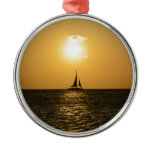 Sunset Sail Metal Ornament