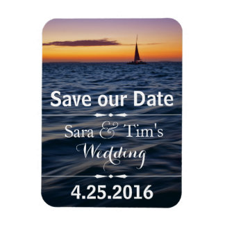 Sunset Sail Nautical Save the Date Magnet