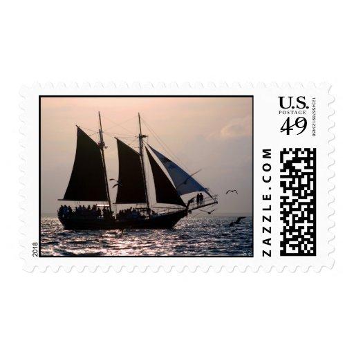 Sunset Sail Postage Stamp
