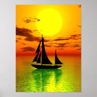 Sunset Sail Ship Poster