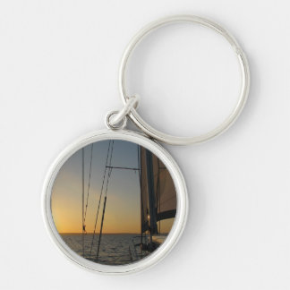 Sunset Sail Silver-Colored Round Keychain