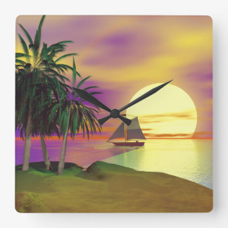 Sunset Sail Square Wall Clock