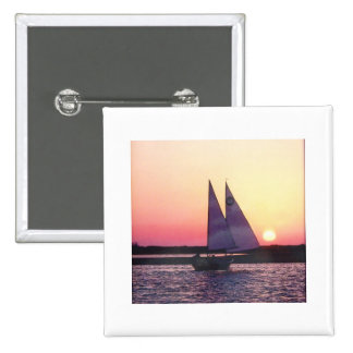 Sunset Sailboat 2 Inch Square Button