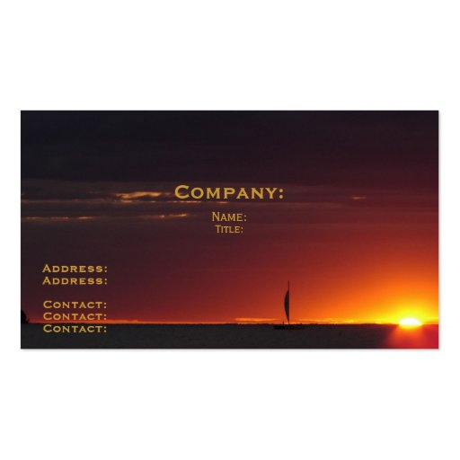 Sunset Sailboat Double-Sided Standard Business Cards (Pack Of 100)