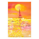 Sunset Sailboat Stationary Stationery Design