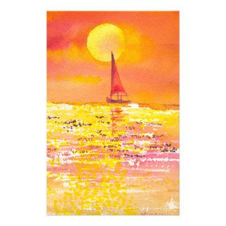 Sunset Sailboat Stationary Stationery Design