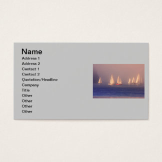 Sunset Sailboats Photo Business Card
