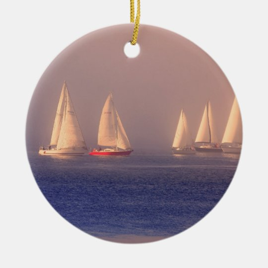 Sunset Sailboats Photo Ceramic Ornament