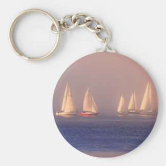 Sunset Sailboats Photo Keychain