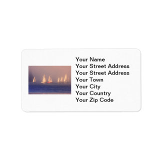 Sunset Sailboats Photo Label