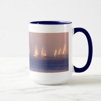 Sunset Sailboats Photo Mug