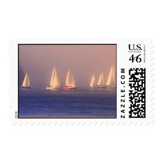 Sunset Sailboats Photo Postage Stamps