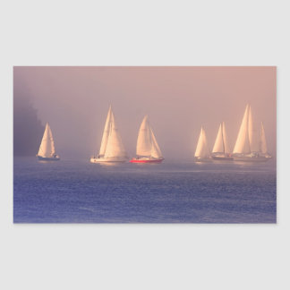 Sunset Sailboats Photo Rectangular Sticker