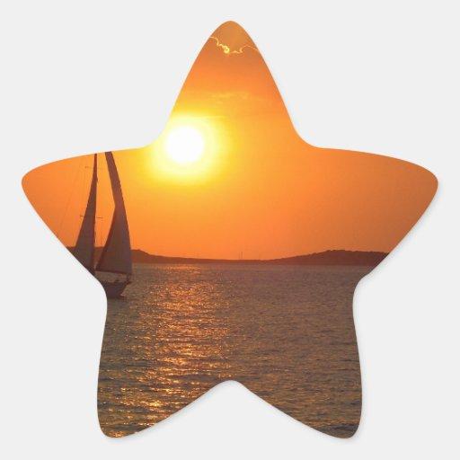 Sunset Sailing Boat Star Sticker