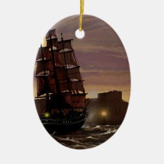 Sunset sailing boat viewed through spyglass. ceramic ornament