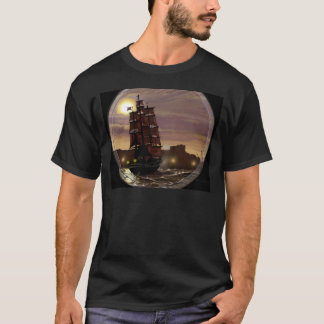 Sunset sailing boat viewed through spyglass. T-Shirt