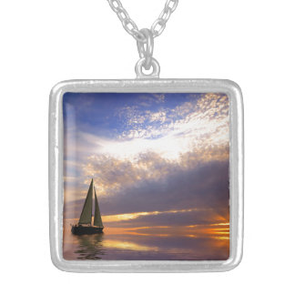Sunset Sailing Silver Plated Necklace