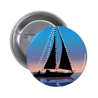 Sunset Sails with Holiday Lights 2 Inch Round Button