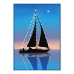 Sunset Sails with Holiday Lights Custom Invitations