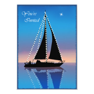 Sunset Sails with Holiday Lights Invitation