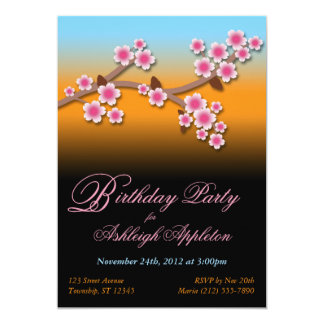 Sunset Sakura Birthday Invitations