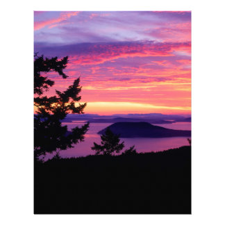 Sunset San Juan Islands At Puget Sound Letterhead Design