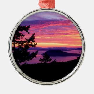 Sunset San Juan Islands At Puget Sound Metal Ornament