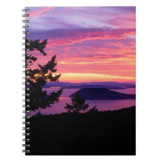 Sunset San Juan Islands At Puget Sound Spiral Notebooks