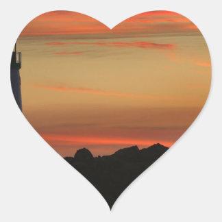 Sunset Santa Cruz Lighthouse Heart Sticker