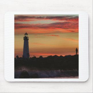 Sunset Santa Cruz Lighthouse Mouse Pad
