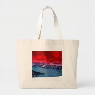 Sunset Scarlet Skies Crater Lake Canvas Bag