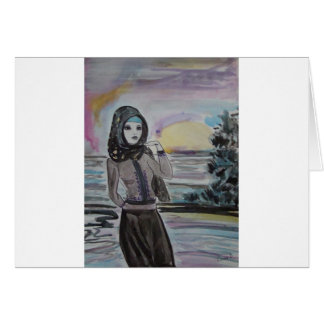 Sunset scarved woman, girl hjiab, muslim cards