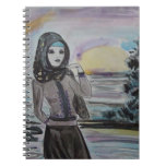 Sunset scarved woman, girl hjiab, muslim note book