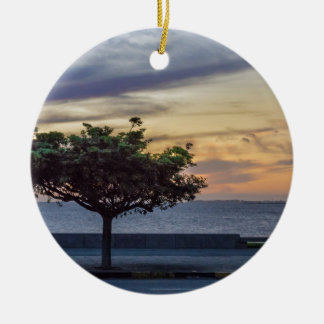 Sunset Scene at Boardwalk in Montevideo Uruguay Ceramic Ornament