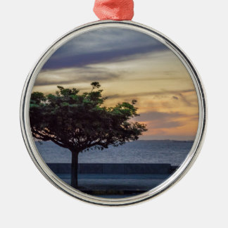 Sunset Scene at Boardwalk in Montevideo Uruguay Metal Ornament