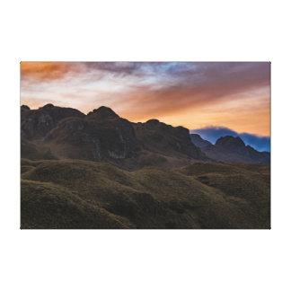 Sunset Scene at Cajas National Park in Cuenca Ecua Canvas Print