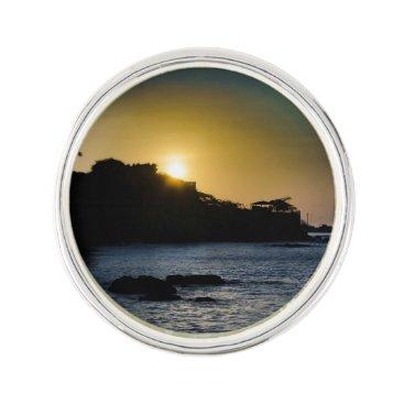 Beach Themed Sunset Scene at La Libertad Malecon Lapel Pin