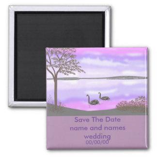 Sunset scene swans Save The Date fridge Magnets
