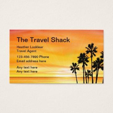 Beach Themed Sunset Scenic Travel Agency Design Business Card