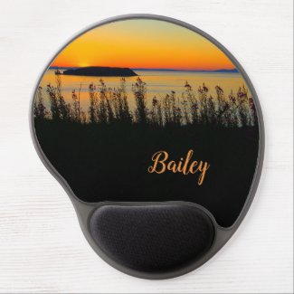 sunset sea gel mouse pad, own name, nature scene gel mouse pad