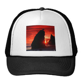 Sunset Sea Stacks Blood Red Trucker Hat